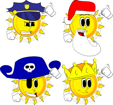 Cartoon sun threatening someone, shakes his fist at viewer. Collection with costume. Expressions vector set. Иллюстрация