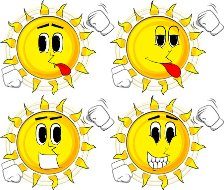 Cartoon sun threatening someone, shakes his fist at viewer. Collection with happy faces. Expressions vector set.