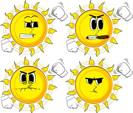 漫画の太陽は誰かを脅し、視聴者に彼の拳を振ります。怒った顔をしたコレクション。式ベクトル セット。