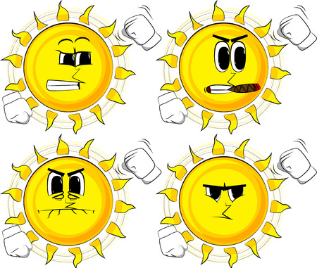 Cartoon sun threatening someone, shakes his fist at viewer. Collection with angry faces. Expressions vector set.