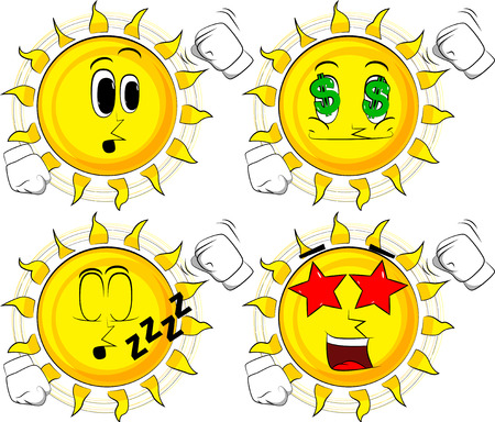 Cartoon sun threatening someone, shakes his fist at viewer. Collection with various facial expressions. Vector set.