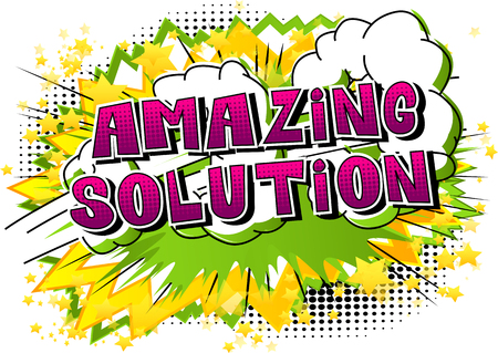 Amazing Solution - Comic book style word on abstract background. Ilustracja