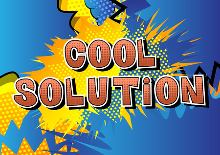 Cool Solution - Comic book style word on abstract background. Ilustracja