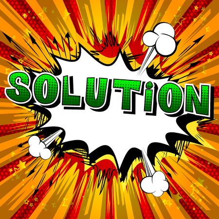 Solution - Comic book style word on abstract background.