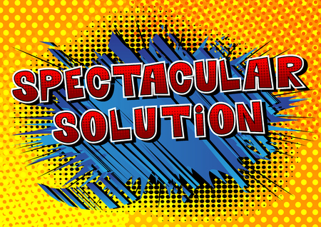 Spectacular Solution - Comic book style word on abstract background. Çizim