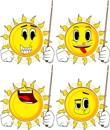 Cartoon sun with a magic wand. Collection with happy faces. Expressions vector set.