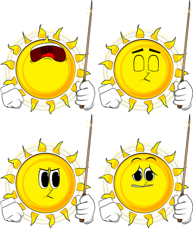 Cartoon sun with a magic wand. Collection with sad faces. Expressions vector set.