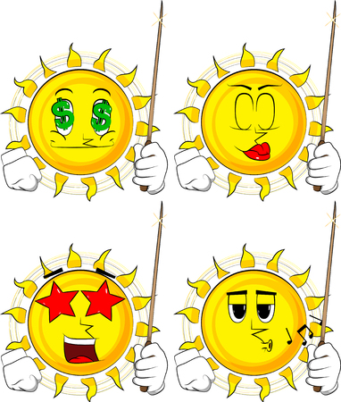 Cartoon sun with a magic wand. Collection with various facial expressions. Vector set.