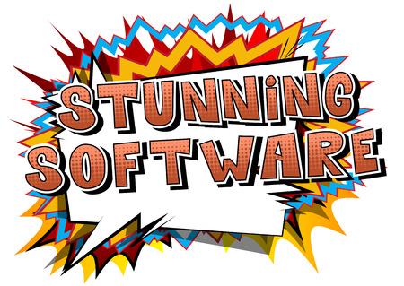 見事なソフトウェア - 抽象的な背景に漫画本スタイルの単語。