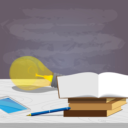 School books, pen, idea bulb with smart phone and empty blackboard on the background, education concept Vector cartoon style illustration. Ilustração