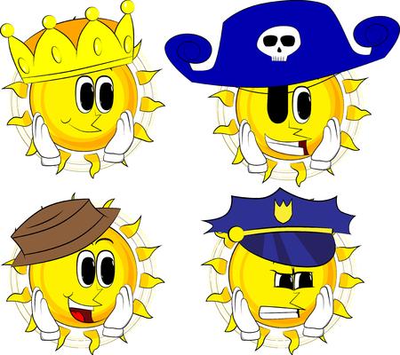 Cartoon zon aan zijn gezicht te raken. Collectie met kostuum. Uitdrukkingen vector set.