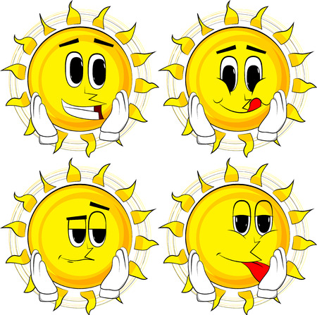 Cartoon sun touching his face. Collection with happy faces. Expressions vector set.