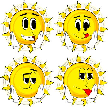 Cartoon zon aan zijn gezicht te raken. Collectie met blije gezichten. Uitdrukkingen vector set.