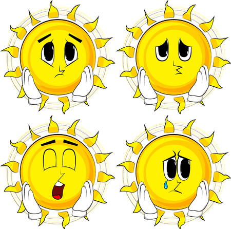 Cartoon sun touching his face. Collection with sad faces. Expressions vector set. Ilustração