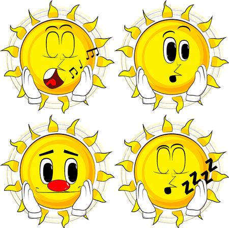 Cartoon zon aan zijn gezicht te raken. Collectie met verschillende gezichtsuitdrukkingen. Vector set