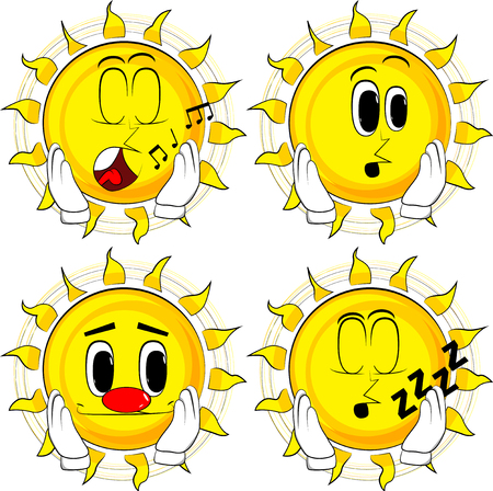 Cartoon sun touching his face. Collection with various facial expressions. Vector set. Illustration