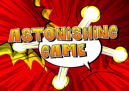 Astonishing game, comic book style word on abstract background.