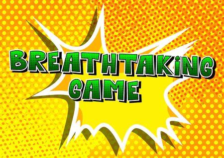 Breathtaking 게임, 추상적 인 배경에 만화 스타일 단어.