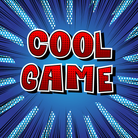 Cool game, comic book style word on abstract background. Vettoriali