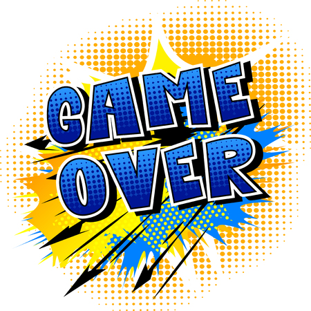 Game over, comic book style word on abstract background.