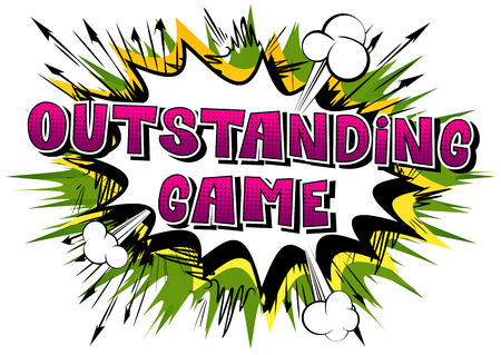 Outstanding game, comic book style word on abstract background. Vettoriali