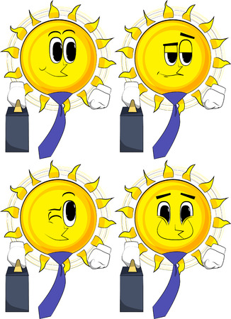 Cartoon sun boss with suitcase or bag and tie. Collection with happy faces. Expressions vector set. Stock Illustratie