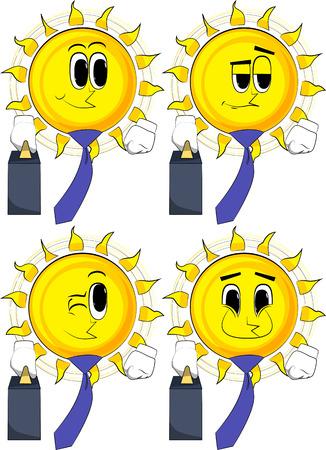 Cartoon zon baas met koffer of tas en stropdas. Collectie met blije gezichten. Uitdrukkingen vector set.