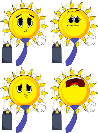 Cartoon sun boss with suitcase or bag and tie. Collection with sad faces. Expressions vector set. Stock Illustratie