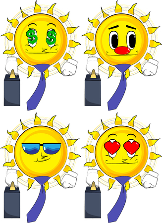 Cartoon sun boss with suitcase or bag and tie. Collection with various facial expressions. Vector set.