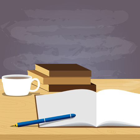 School books pen and coffee on desk, blackboard on the background, education concept. Vector cartoon style illustration.
