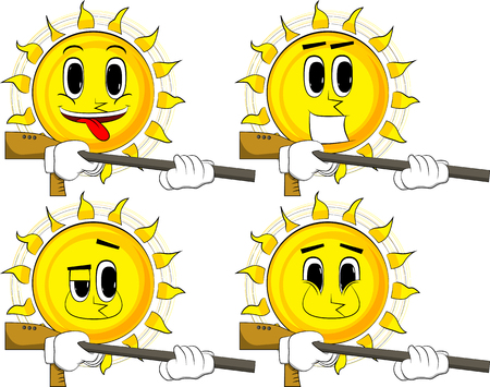 Cartoon sun with a big gun. Collection with happy faces. Expressions vector set. Illustration