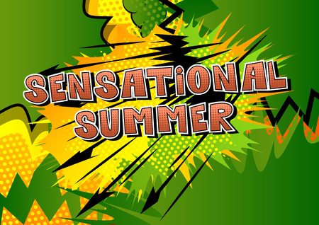 Sensational Summer comic book style word on abstract background.