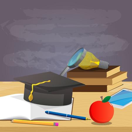 학교 책, 펜, 연필, 졸업 모자, 돋보기, 전구 및 배경, 교육 개념에 빈 칠판 벡터 만화 스타일 그림입니다. 일러스트