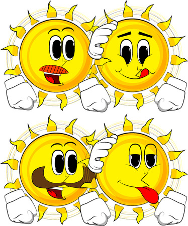 Cartoon sun comforting another sun. Collection with happy faces. Expressions vector set. Ilustração