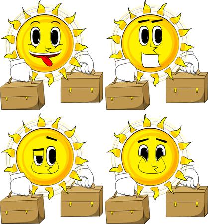 Cartoon zon met koffer twee. Collectie met blije gezichten. Uitdrukkingen vector set.