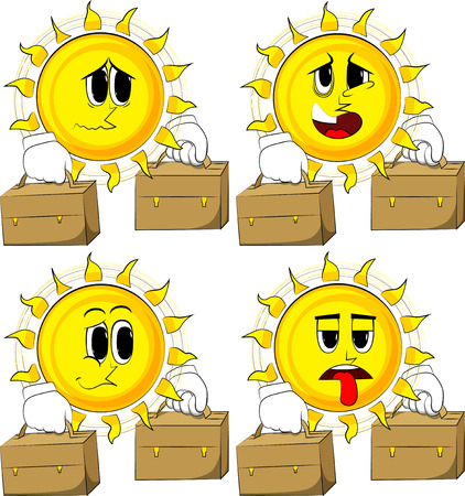 Cartoon zon met koffer twee. Collectie met droevige gezichten. Uitdrukkingen vector set.