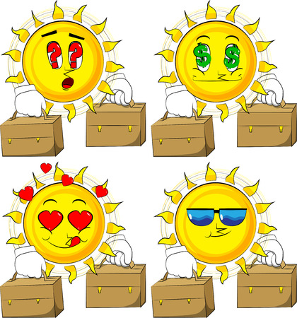 Cartoon sun with two suitcase. Collection with various facial expressions. Vector set.