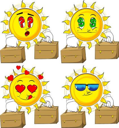 Cartoon zon met koffer twee. Collectie met verschillende gezichtsuitdrukkingen. Vector set