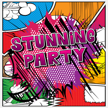 Stunning Party - Comic book style word on abstract background.