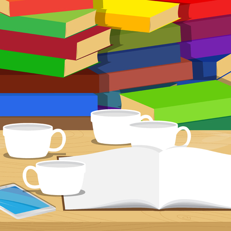 Opened school book, smart phone and a lot of empty coffee cup on desk, stack of books on the background, education concept. Vector cartoon style illustration. Illustration