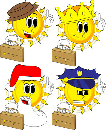 Cartoon sun holding suitcase and making a point, Collection with costume, Expressions vector set.