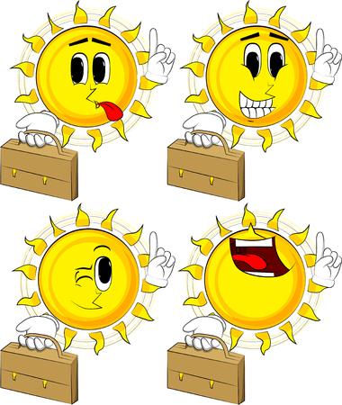 ●漫画の太陽がスーツケースを持ち、ポイントを作り、幸せな顔をしたコレクション、表現ベクトルセット。  イラスト・ベクター素材