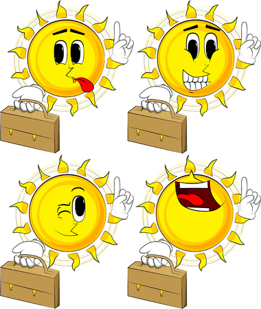 Cartoon sun holding suitcase and making a point, Collection with happy faces, Expressions vector set.