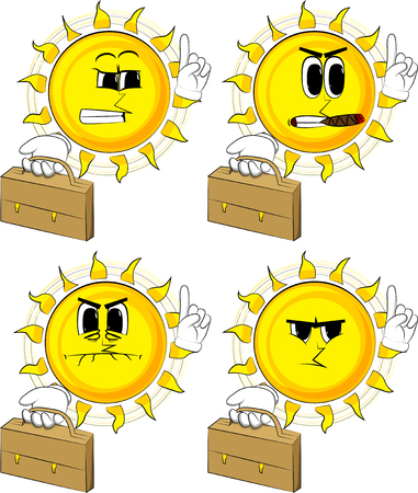Cartoon sun holding suitcase and making a point. Collection with angry faces. Expressions vector set.