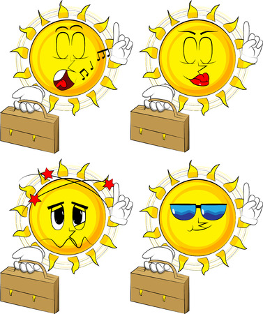 Cartoon sun holding suitcase and making a point. Collection with various facial expressions. Vector set. Ilustração