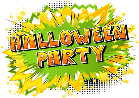 Halloween Party - Comic book style word on abstract background. Illustration
