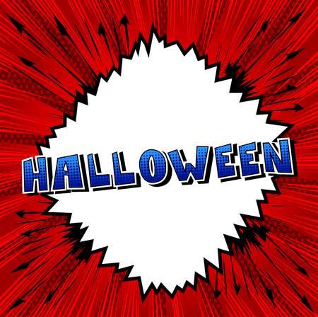 Halloween - Comic book style word on abstract background. Illustration