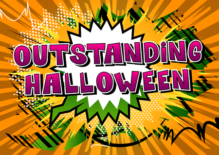 Outstanding Halloween - Comic book style word on abstract background.