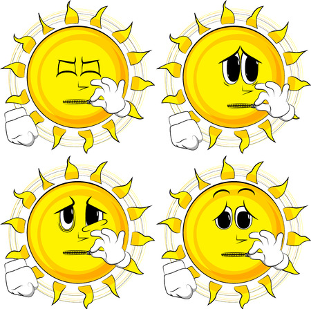 Cartoon sun zipping his mouth. Collection with sad faces. Expressions vector set.
