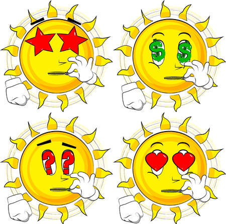 Cartoon sun zipping his mouth. Collection with various facial expressions. Vector set. Illustration